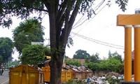 Suasana kotor karena sampah berserakan di TPS samping Taman Krucuk.